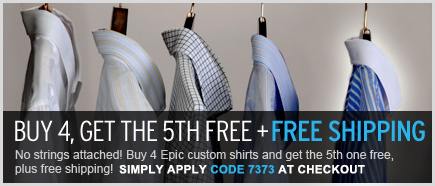 buy 4 shirts, get the 5th free!